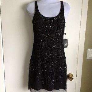 NWT Adrianna Papell Black Beaded Mini Dress 4